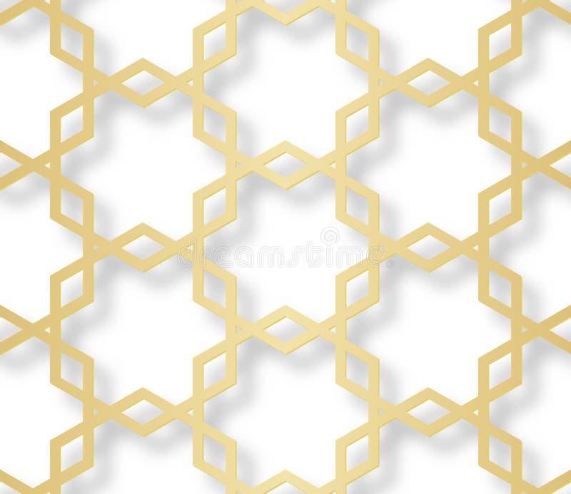 Modelo inconsútil árabe con el efecto 3D para el diseño festivo del folleto, sitio web, impresión Ilustración del vector stock de ilustración