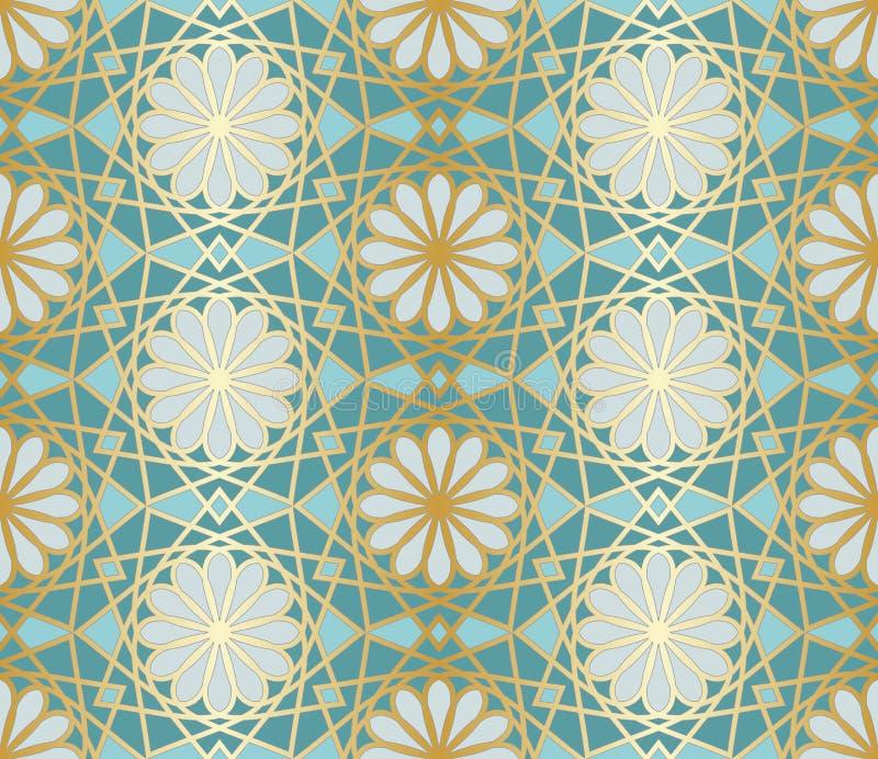 Modelo inconsútil árabe Ventana islámica tradicional de la mezquita con el mosaico de la rejilla del oro ilustración del vector