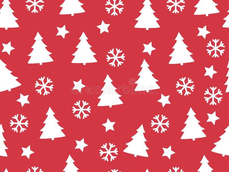 Modelo inconsútil Árboles de navidad y copos de nieve en un backgr rojo ilustración del vector