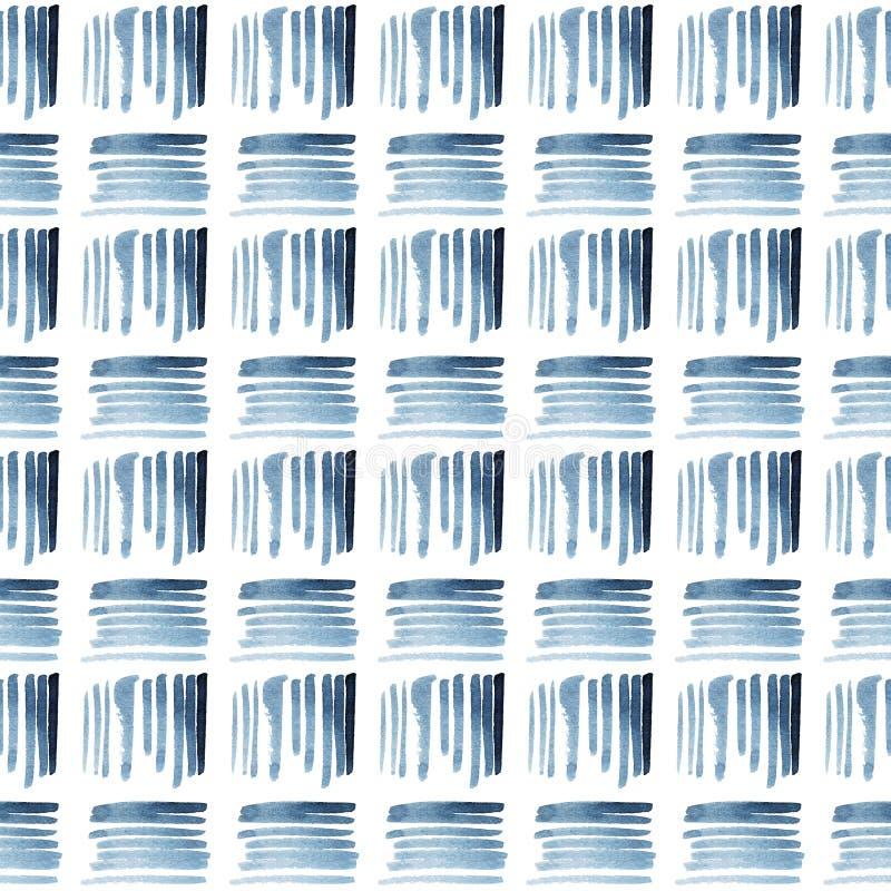 Modelo inconsútil étnico azul y blanco de la acuarela imagen de archivo