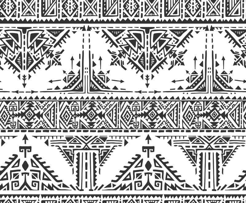 Modelo inconsútil étnico blanco y negro con los elementos dibujados mano ilustración del vector
