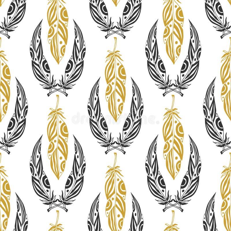 Modelo inconsútil étnico con las plumas de la belleza Pluma tribal del vintage en negro y colores oro ilustración del vector
