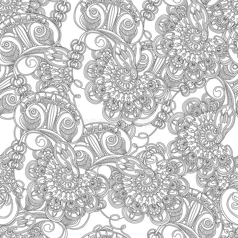 Modelo inconsútil étnico de los búhos florales abstractos del remolino en estilo del garabato foto de archivo libre de regalías