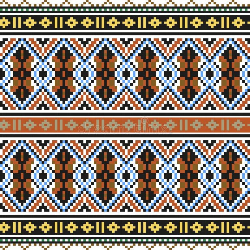 Modelo inconsútil étnico de moda, contemporáneo, cruz del bordado, cuadrados, galones stock de ilustración