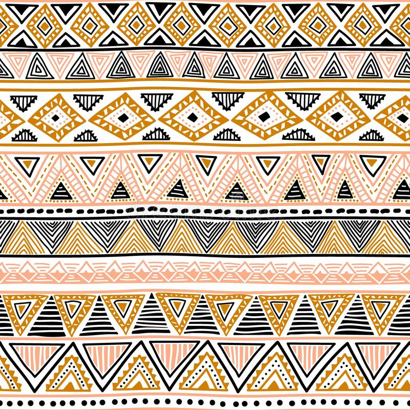 Modelo inconsútil étnico de oro Adornos tribales Negro, rosa stock de ilustración