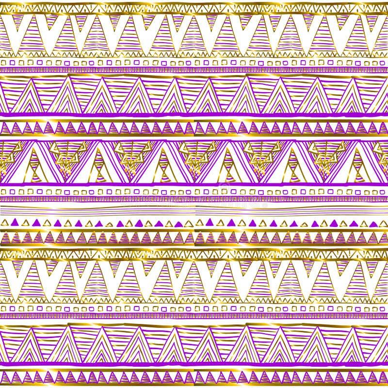 Modelo inconsútil étnico de oro Adornos tribales Negro, rosa y colores oro en un fondo blanco Abstracción geométrica Prin lindo ilustración del vector