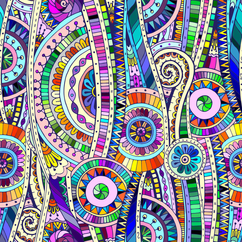 Modelo inconsútil étnico del doddle tribal del mosaico ilustración del vector