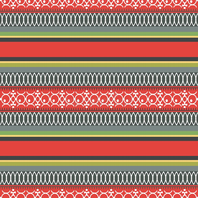 Modelo inconsútil étnico del extracto, ejemplo del vector, fondo ornamental Tracery colorido multicolor horizontal adornado para  stock de ilustración