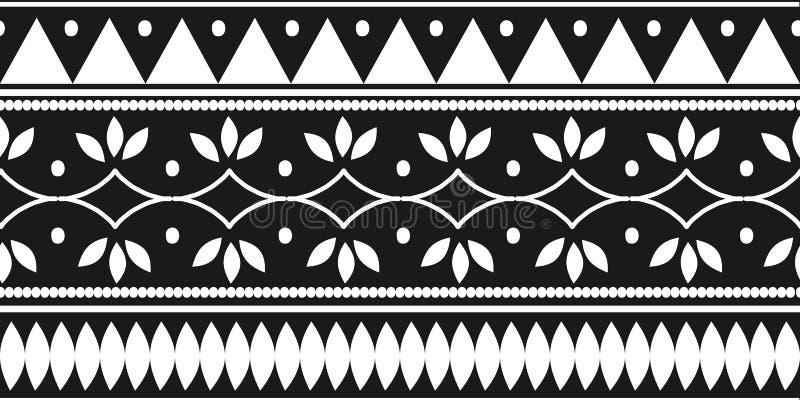 Modelo inconsútil étnico tribal con colores blancos y negros Dibujo tradicional del símbolo del fondo para la impresión de la mat ilustración del vector