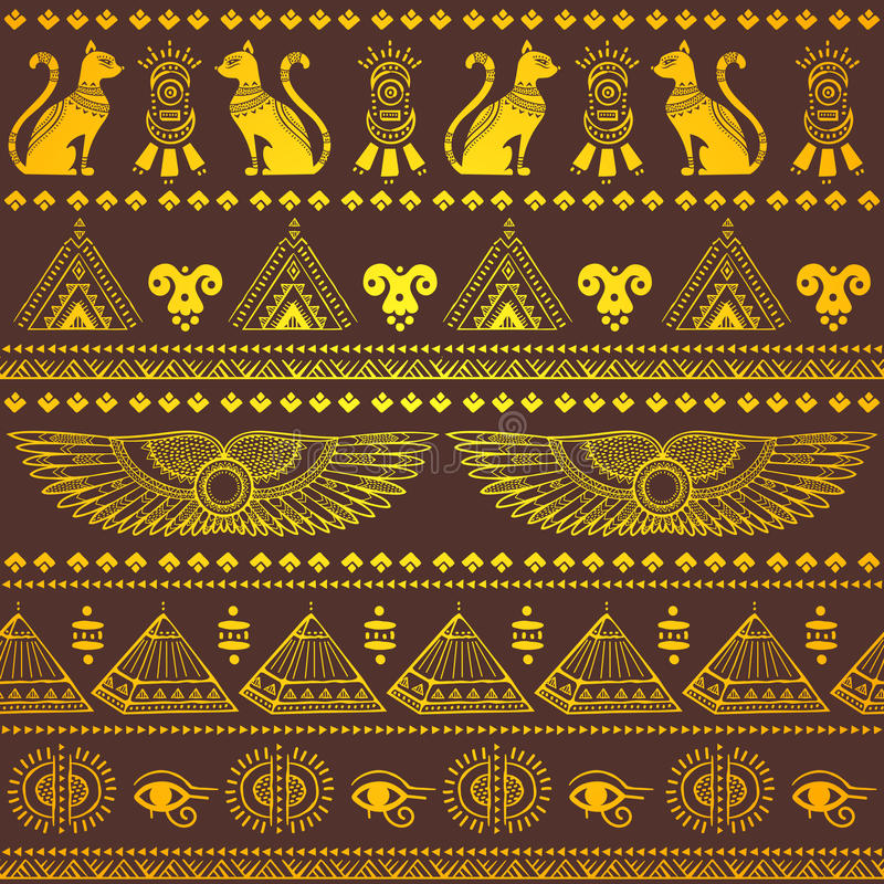 Modelo inconsútil étnico tribal con los símbolos de Egipto stock de ilustración