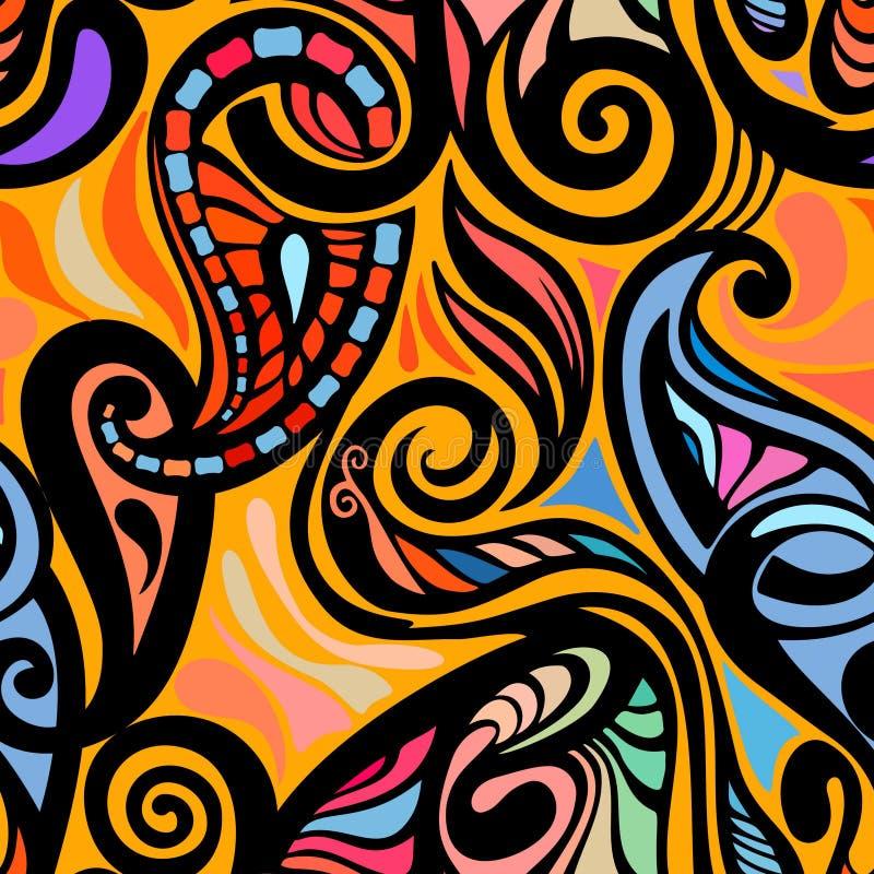 Modelo inconsútil abstracto colorido de Paisley stock de ilustración