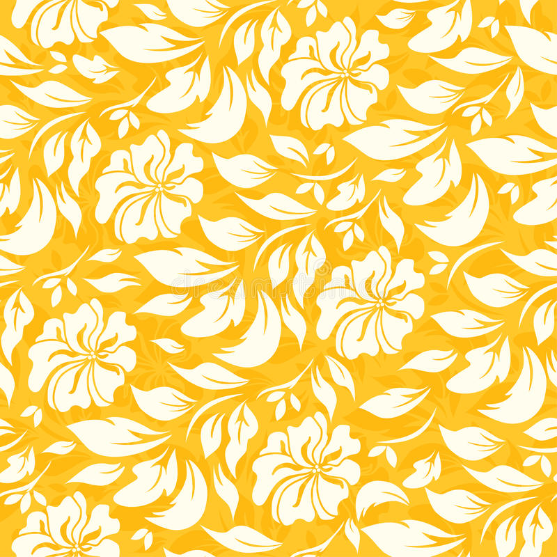Modelo inconsútil abstracto con el fondo floral amarillo hermoso stock de ilustración