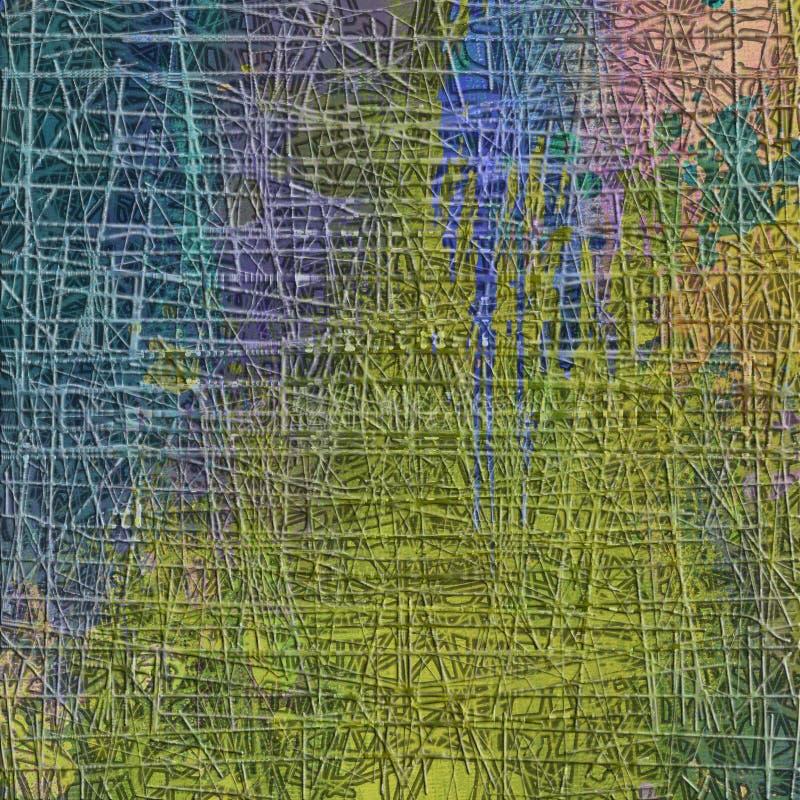Modelo inconsútil abstracto con la línea caótica y diversos elementos de color ilustración del vector