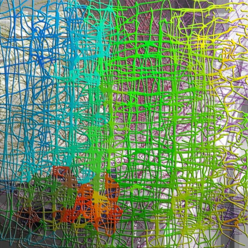 Modelo inconsútil abstracto con la línea caótica y diversos elementos de color stock de ilustración