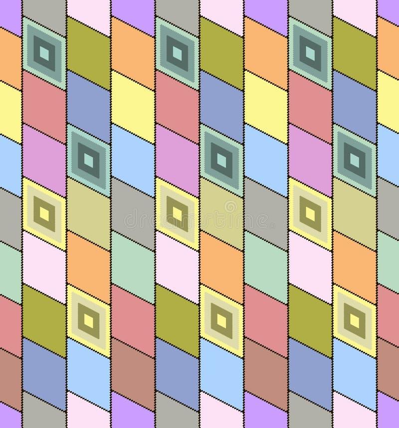 Modelo inconsútil abstracto con las figuras como postag coloreado pegado ilustración del vector