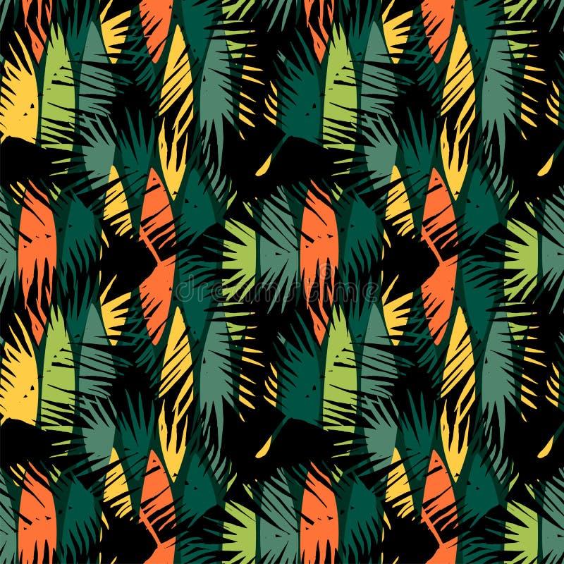 Modelo inconsútil abstracto con las hojas tropicales stock de ilustración
