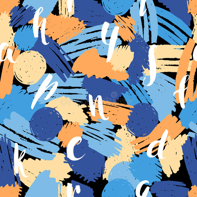 Modelo inconsútil abstracto con las letras del oro libre illustration