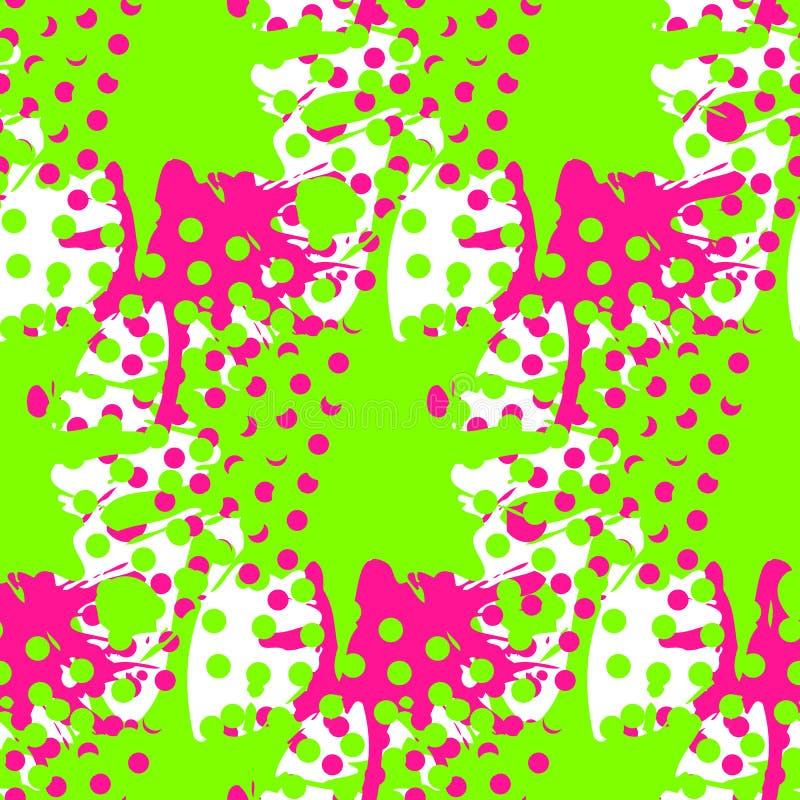Modelo inconsútil abstracto con las manchas blancas /negras líquidas y las formas geométricas libre illustration