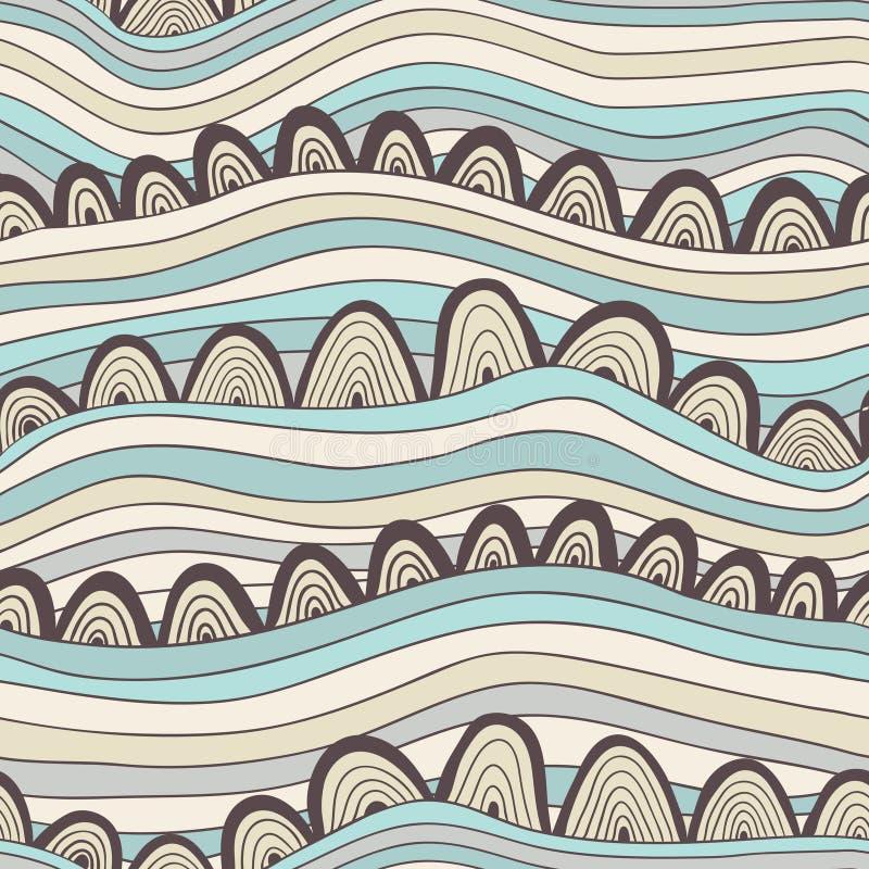 Modelo inconsútil abstracto con las rayas y los círculos, mar colorido ilustración del vector