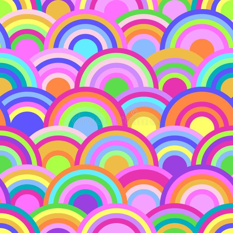 Modelo inconsútil abstracto con los círculos coloridos stock de ilustración