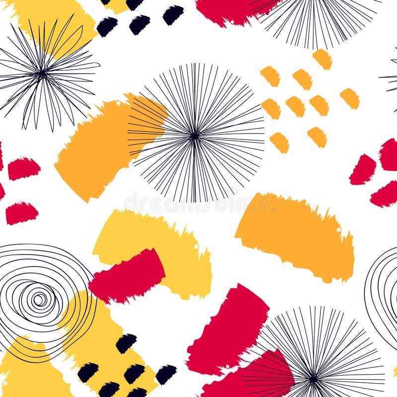Modelo inconsútil abstracto con los elementos del graphyc - formas abstractas modernas: líneas; espiral; círculos stock de ilustración