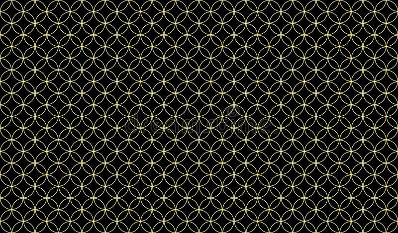 Modelo inconsútil abstracto de coincidir círculos amarillos finos contra un fondo oscuro libre illustration