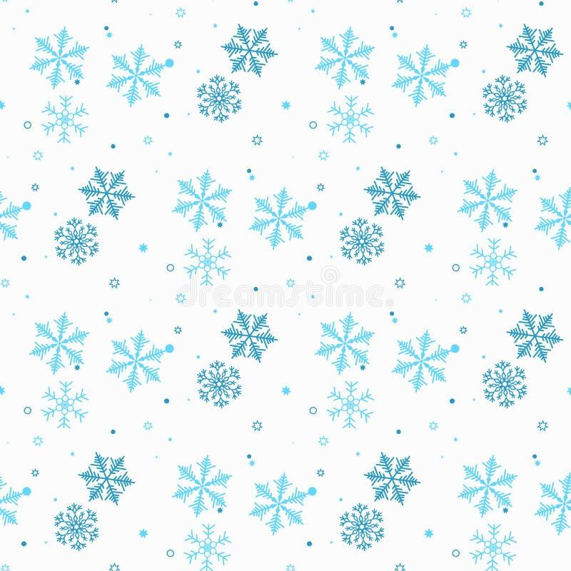 Modelo inconsútil abstracto de copos de nieve azules que caen en el fondo blanco Modelo del invierno para la bandera, el saludo,  stock de ilustración