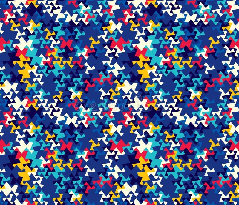 Modelo inconsútil abstracto de esquinas y de triángulos Ilusión óptica del movimiento Modelo brillante de la juventud stock de ilustración