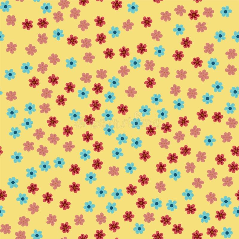 Modelo inconsútil abstracto de flores en un fondo amarillo Para las impresiones, tarjetas, invitaciones, cumpleaños, días de fies libre illustration