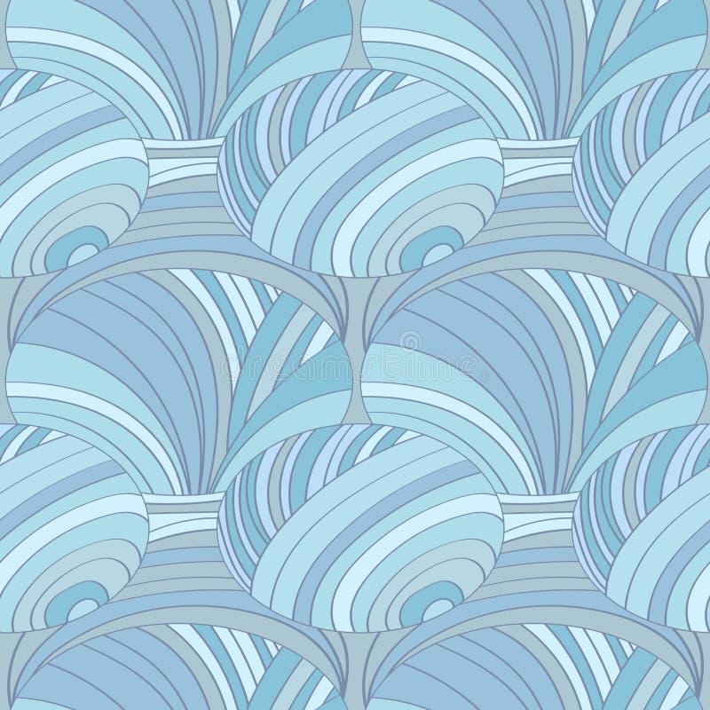Modelo inconsútil abstracto de líneas y de círculos, en color azul en colores pastel stock de ilustración