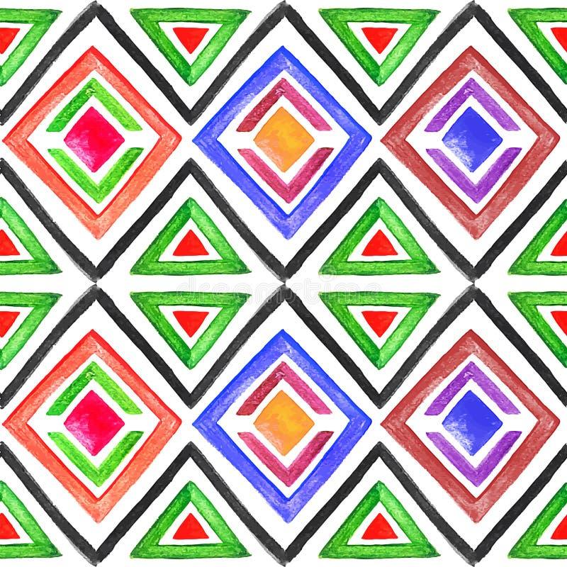 Modelo inconsútil abstracto 3 de la acuarela ilustración del vector