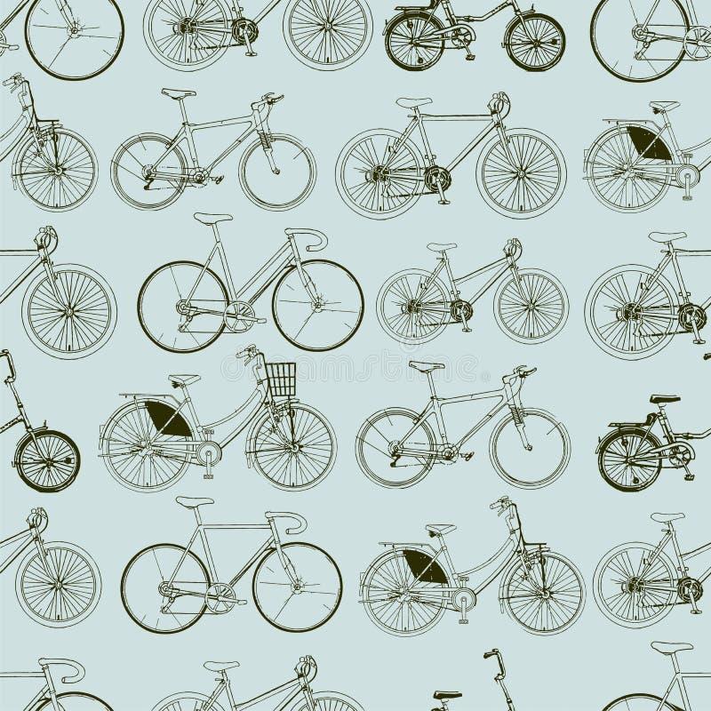 Modelo inconsútil abstracto de las bicicletas Impresión elegante del vector stock de ilustración