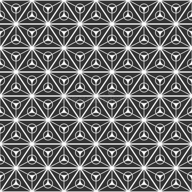 Modelo inconsútil abstracto de los triángulos divididos en tres porciones iguales con círculos dentro stock de ilustración