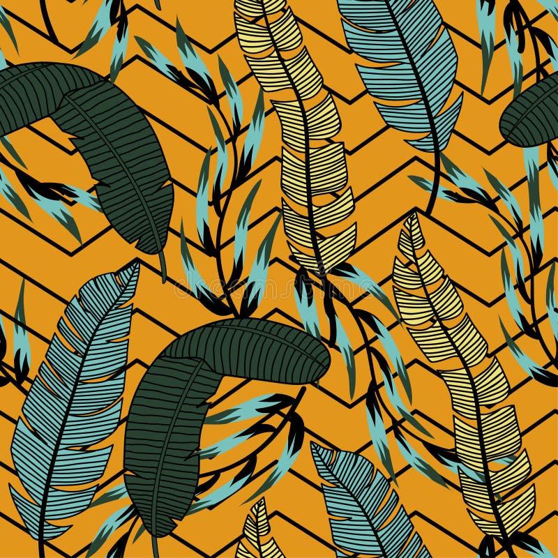 Modelo inconsútil abstracto de moda con las hojas y las flores tropicales coloridas en un fondo anaranjado Dise?o del vector Impr libre illustration