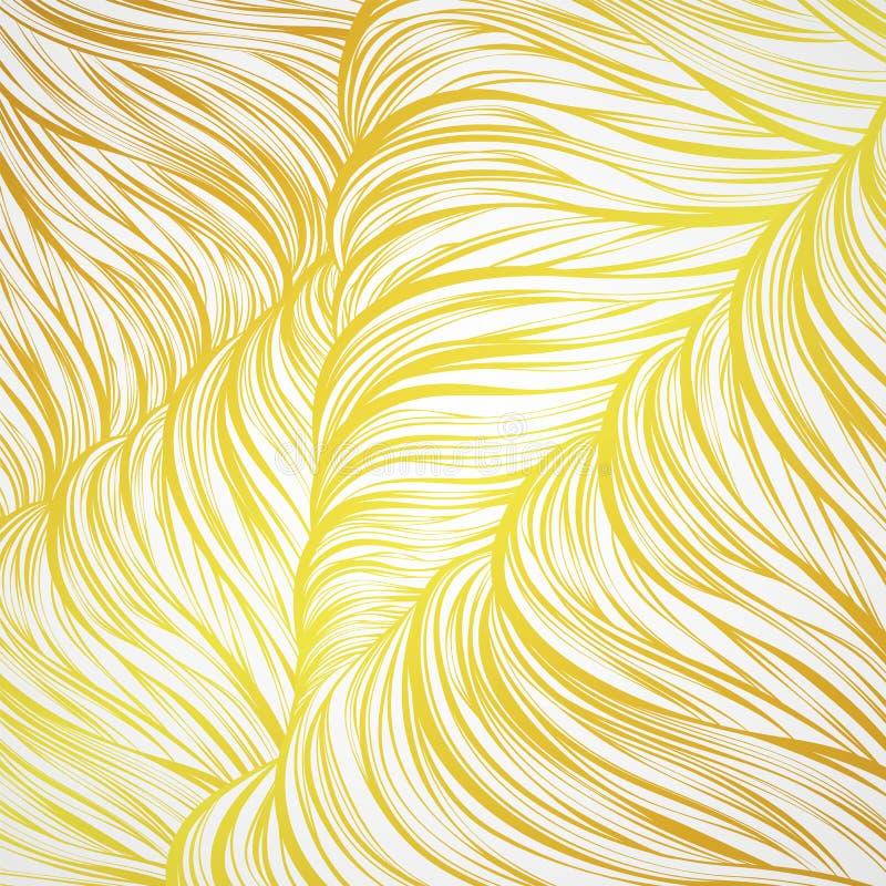 Modelo inconsútil abstracto de oro natur del pelo del oro de la onda del arte alineado stock de ilustración