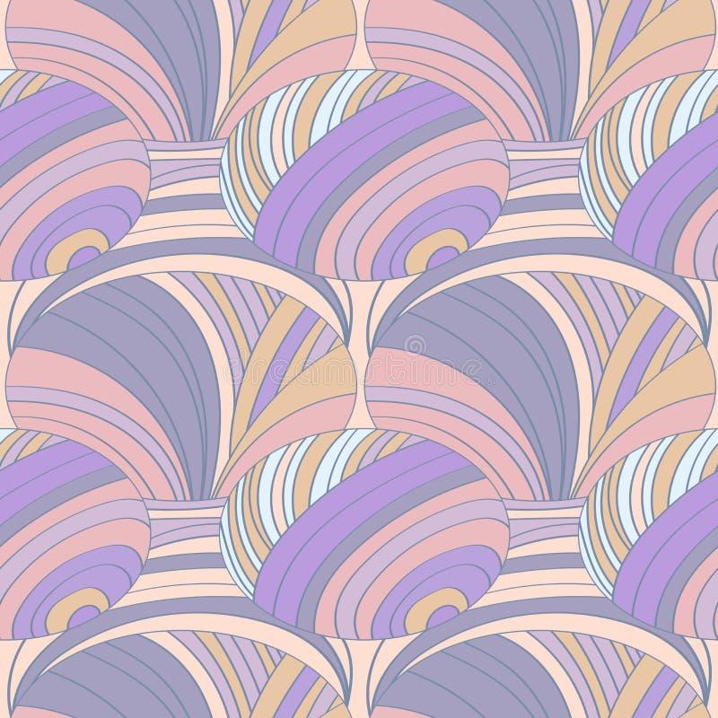 Modelo inconsútil abstracto de tiras y de círculos, en rosa en colores pastel y naranja libre illustration