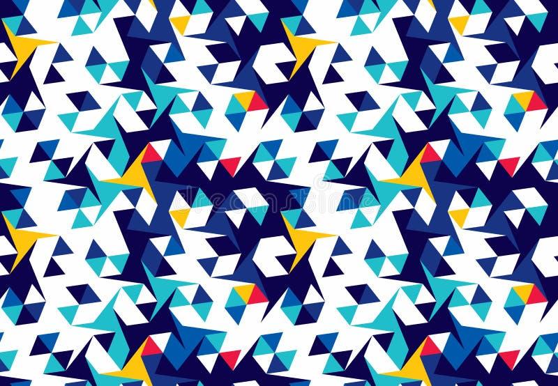 Modelo inconsútil abstracto de triángulos Textura geométrica Modelo para la ropa brillante de la juventud ilustración del vector
