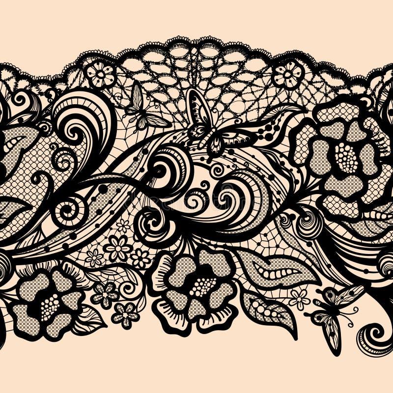 Modelo inconsútil abstracto del cordón con las flores ilustración del vector