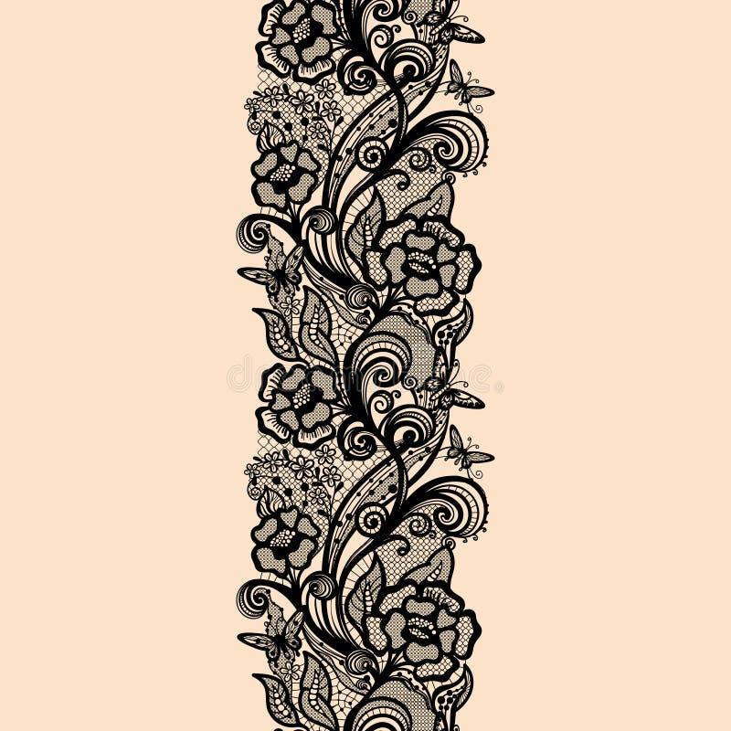 Modelo inconsútil abstracto del cordón con las flores y las mariposas ilustración del vector