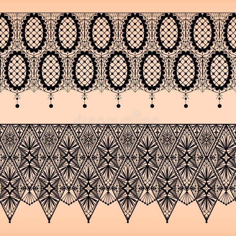 Modelo inconsútil abstracto del cordón del negro de la tela en beige stock de ilustración