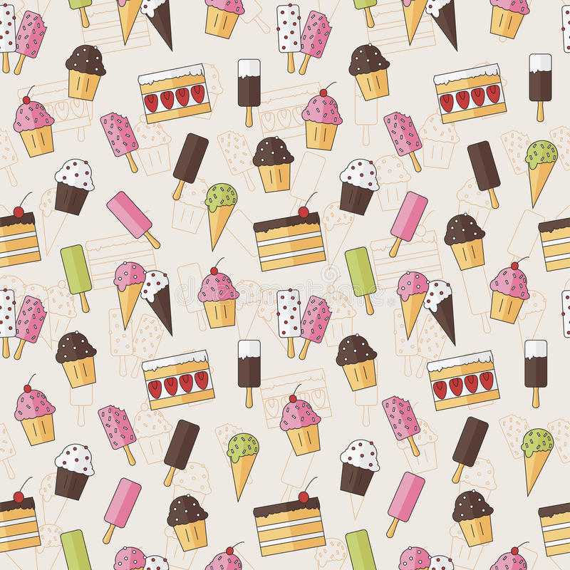 Modelo inconsútil abstracto del fondo con helado y la torta de los dulces en estilo plano Ilustración del vector stylish stock de ilustración