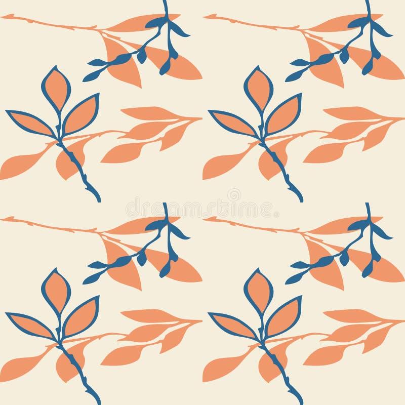 Modelo inconsútil abstracto del vector de hojas ilustración del vector