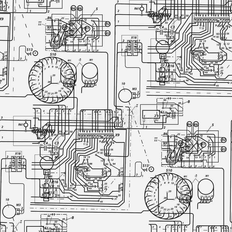 Modelo inconsútil abstracto en el tema de la ciencia y de la ingeniería eléctrica stock de ilustración