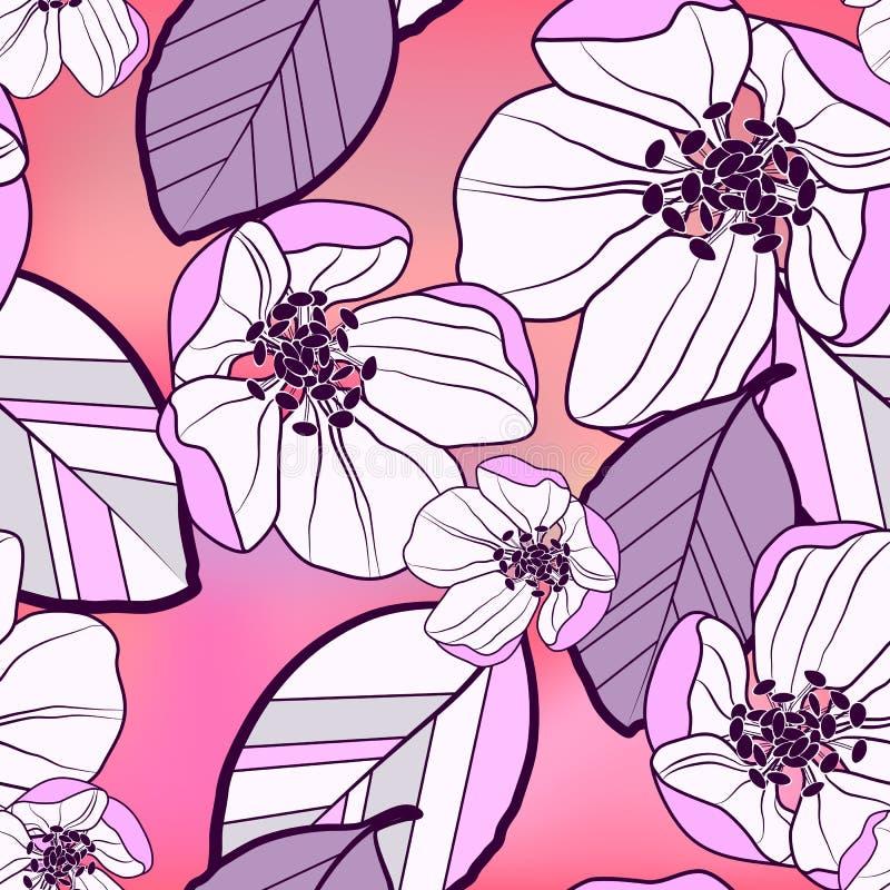 Modelo inconsútil abstracto floral de púrpura-blanco grande con las flores negras de la manzana y las hojas coloridas, en un rosa ilustración del vector