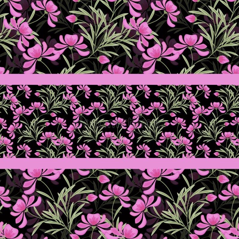 Modelo inconsútil abstracto floral, fondo negro libre illustration