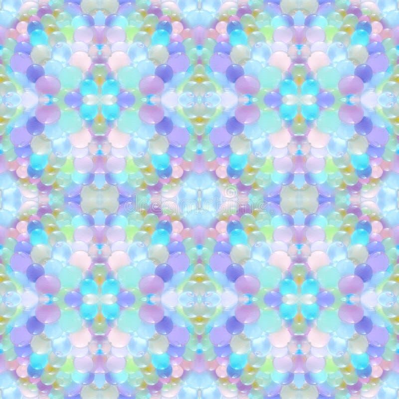 Modelo inconsútil abstracto Fondo con las pequeñas bolas coloreadas transparentes dispuestas caótico stock de ilustración