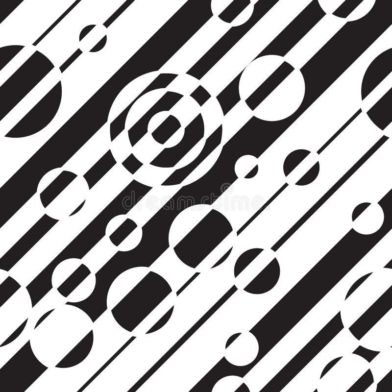 Modelo inconsútil abstracto geométrico blanco y negro Ejemplo del vector, ilusión óptica Líneas simples rayadas, efecto hipnótico stock de ilustración