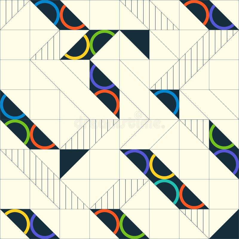 Modelo inconsútil abstracto geométrico Fondo linear del adorno stock de ilustración