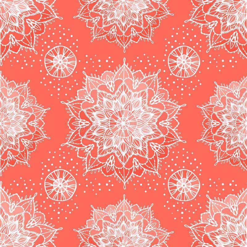 Modelo inconsútil abstracto Mandala redonda exhausta del ornamento de la mano blanca Color anaranjado coralino de moda Fondo de l stock de ilustración