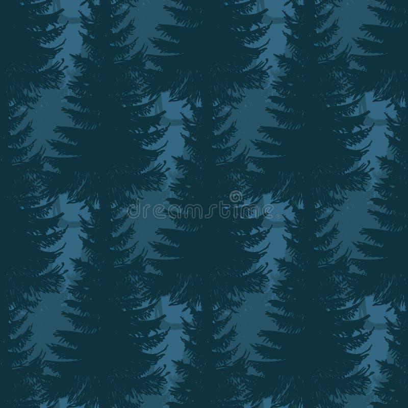 Modelo inconsútil acodado del bosque del pino stock de ilustración
